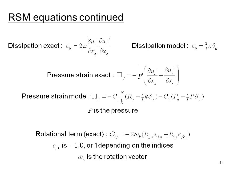 RSM equations continued