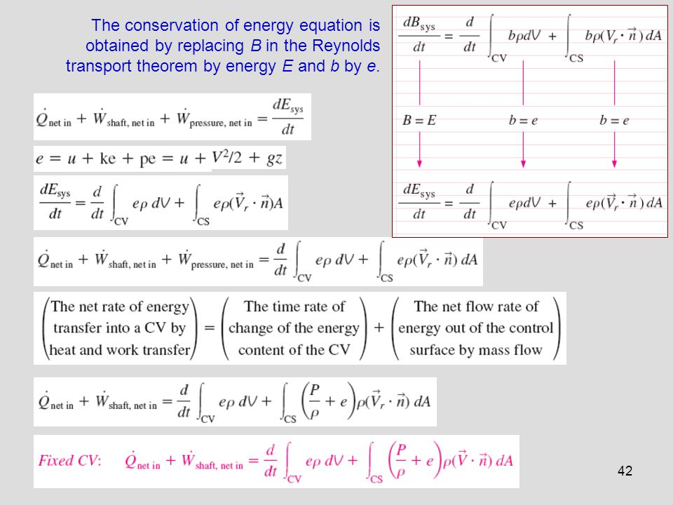 The conservation of energy equation is obtained by replacing B in the Reynolds transport theorem by energy E and b by e.