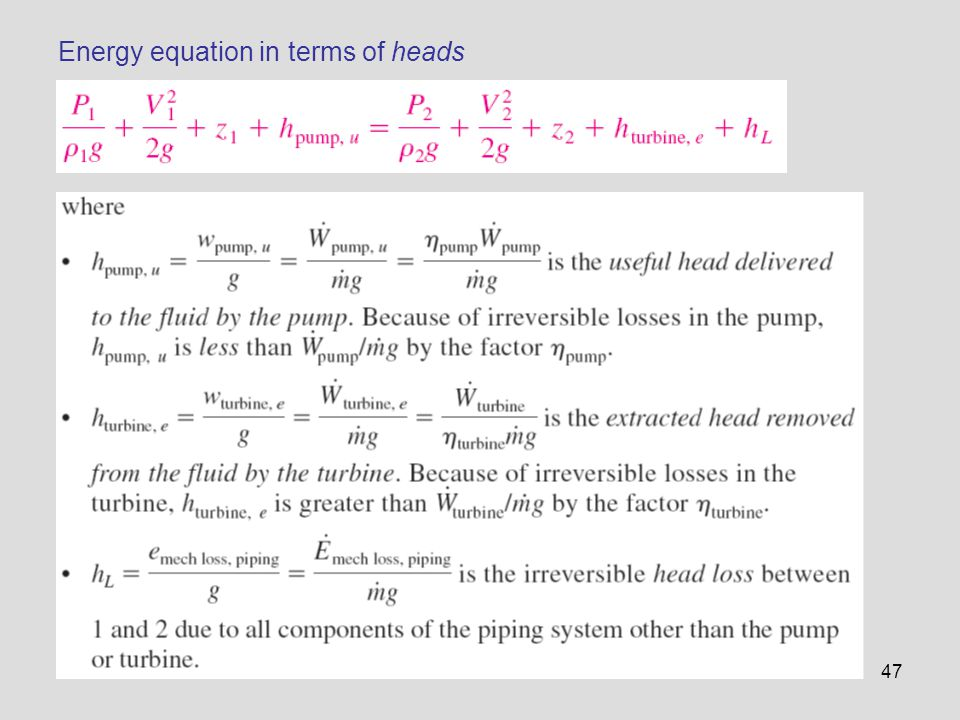Energy equation in terms of heads