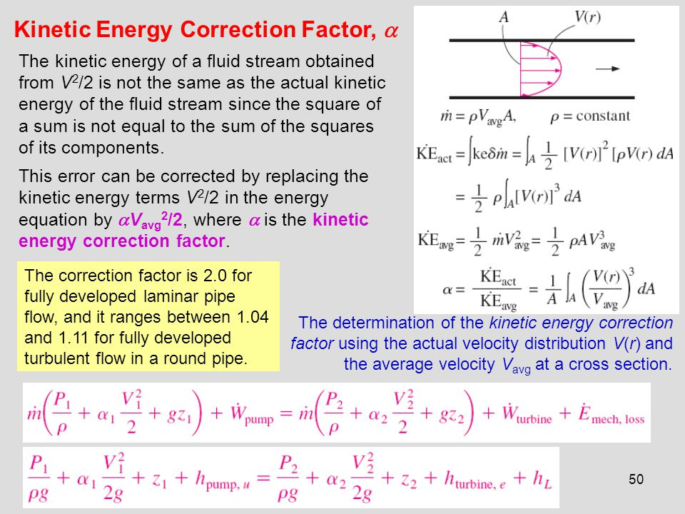 Kinetic Energy Correction Factor, 