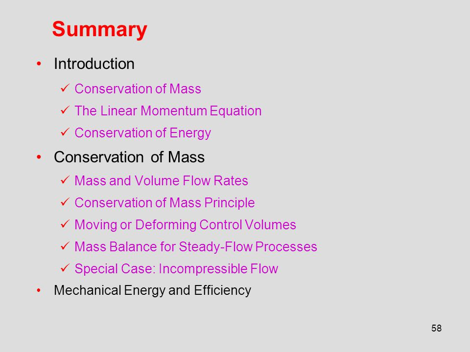 Summary Introduction Conservation of Mass The Linear Momentum Equation