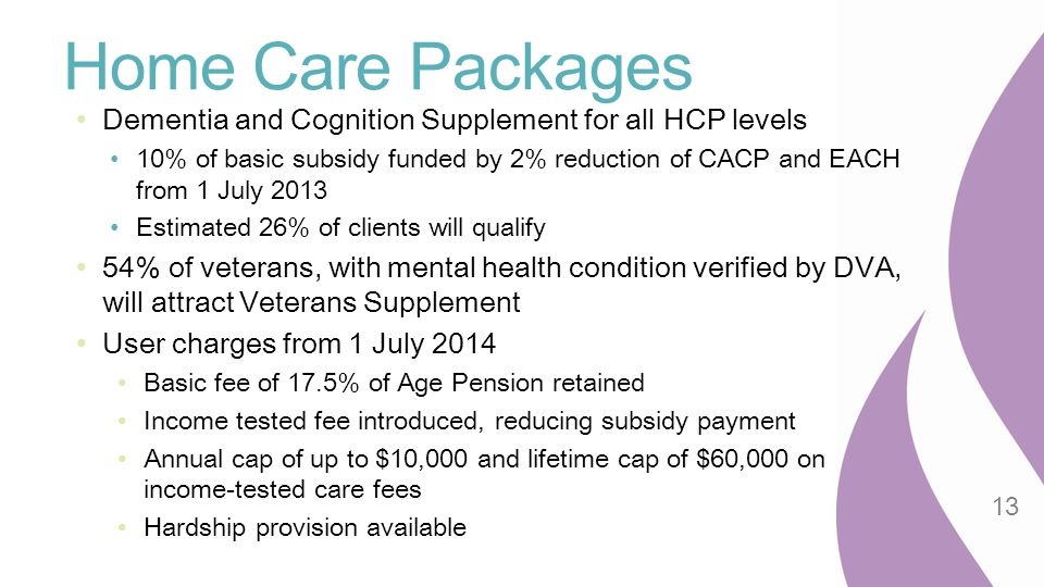 Home Care Packages Dementia and Cognition Supplement for all HCP levels.
