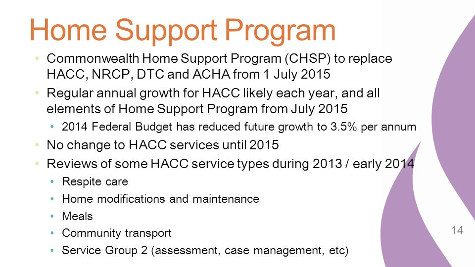 Home Support Program Commonwealth Home Support Program (CHSP) to replace HACC, NRCP, DTC and ACHA from 1 July 2015.