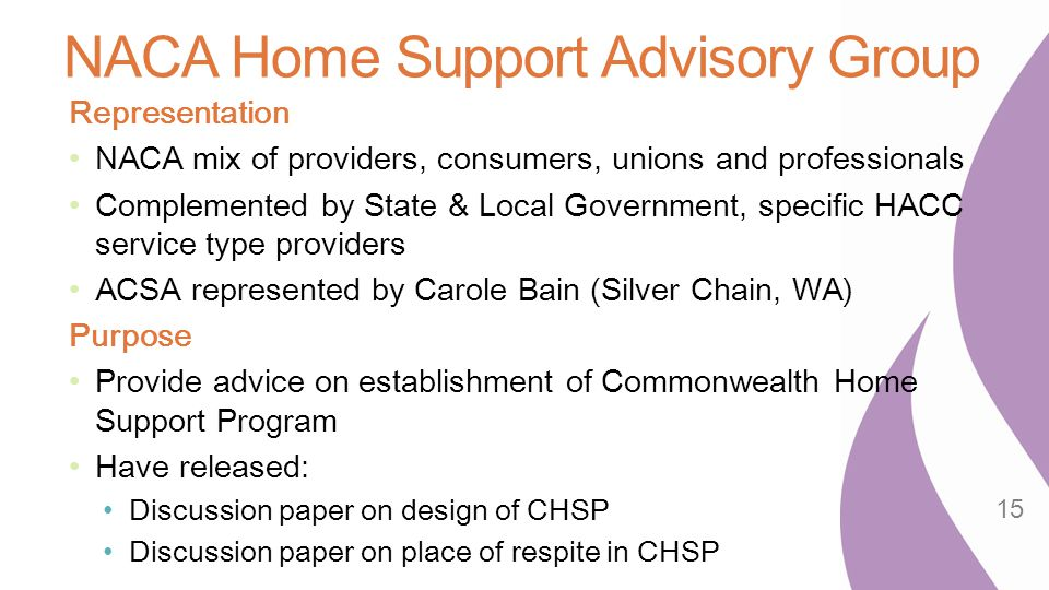 NACA Home Support Advisory Group