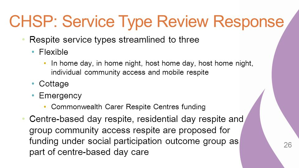 CHSP: Service Type Review Response