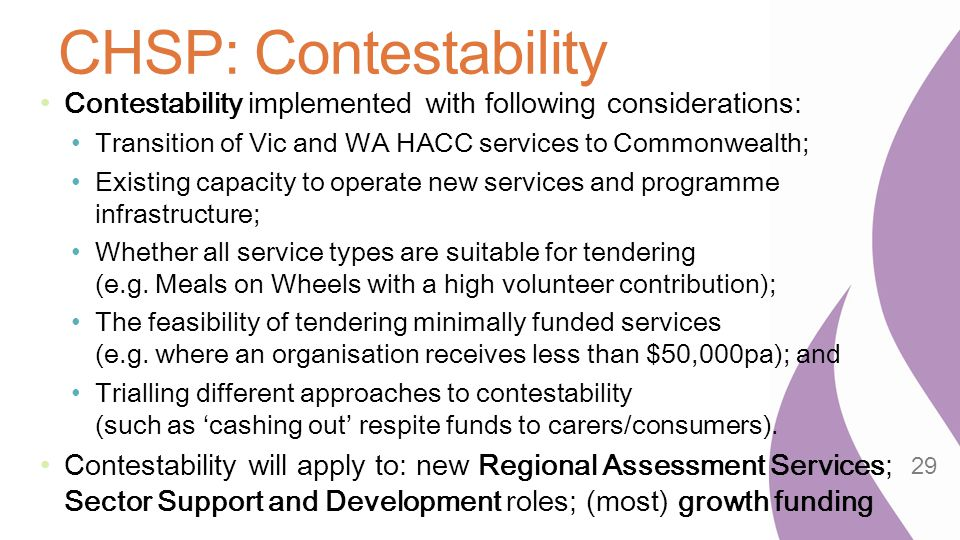 CHSP: Contestability Contestability implemented with following considerations: Transition of Vic and WA HACC services to Commonwealth;