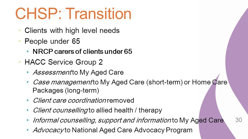 CHSP: Transition Clients with high level needs People under 65