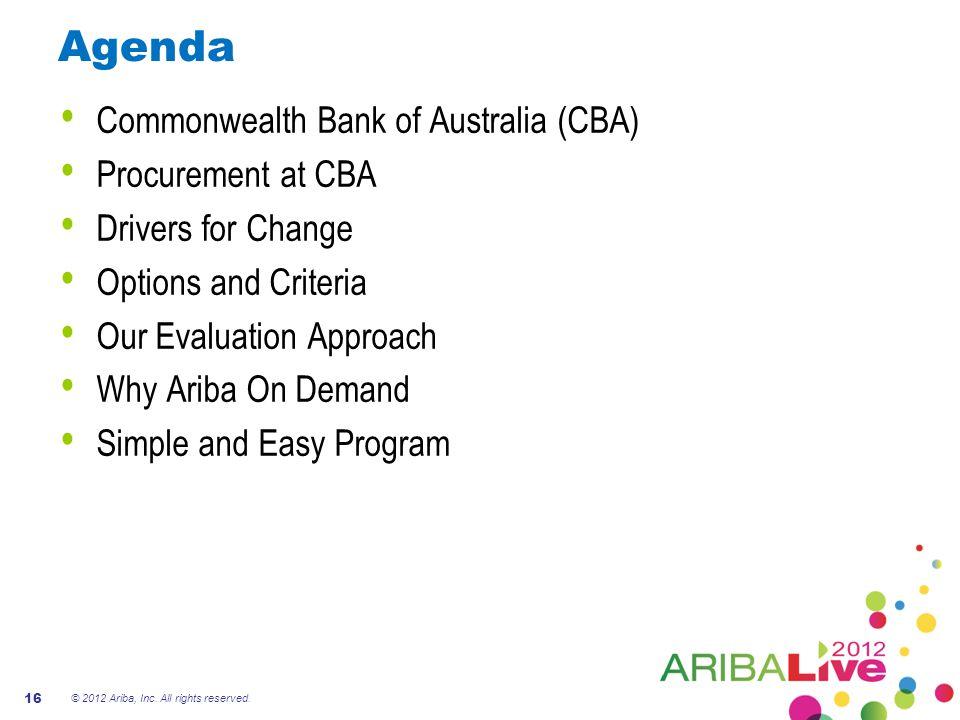 Agenda Commonwealth Bank of Australia (CBA) Procurement at CBA