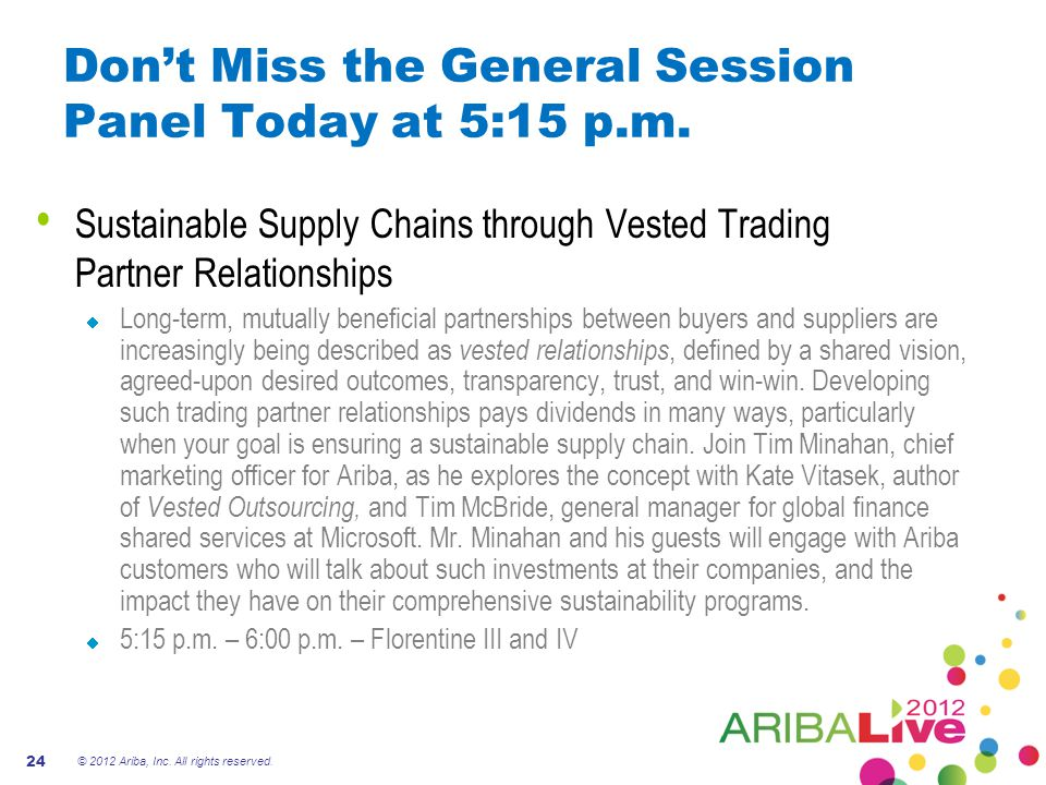 Don't Miss the General Session Panel Today at 5:15 p.m.