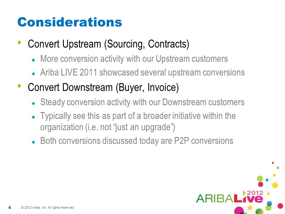 Considerations Convert Upstream (Sourcing, Contracts)