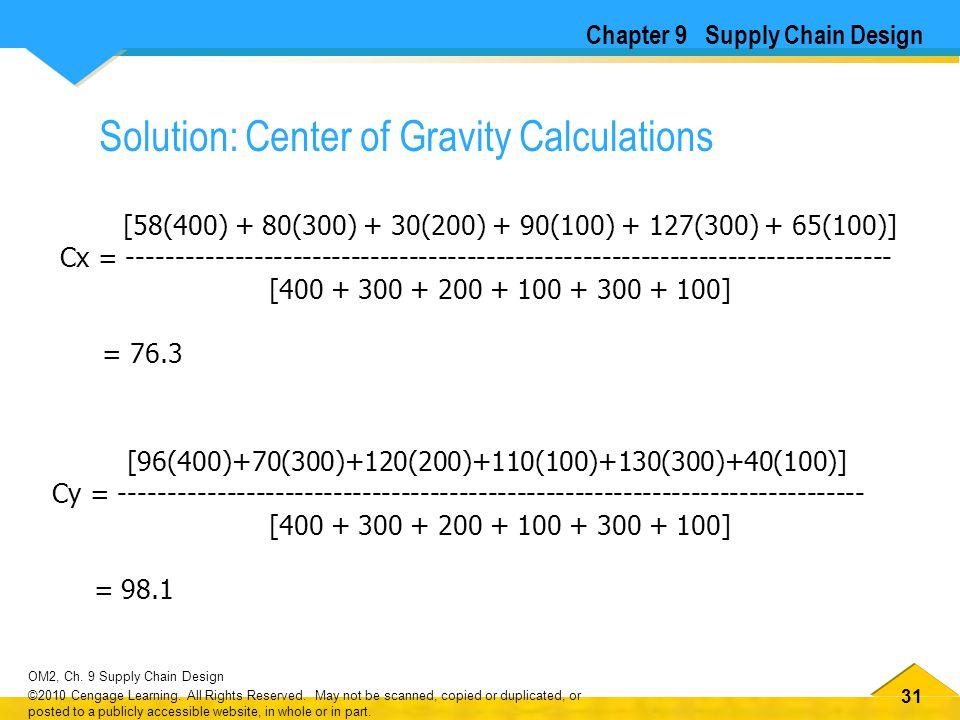 Solution: Center of Gravity Calculations
