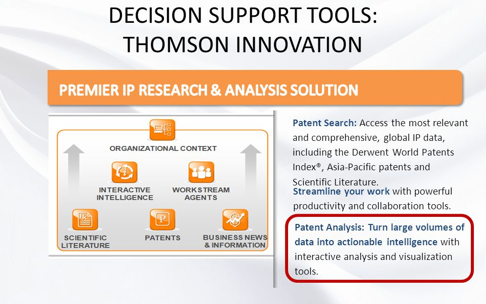 DECISION SUPPORT TOOLS: THOMSON INNOVATION