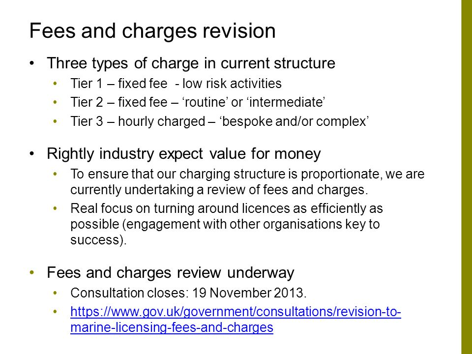 Fees and charges revision