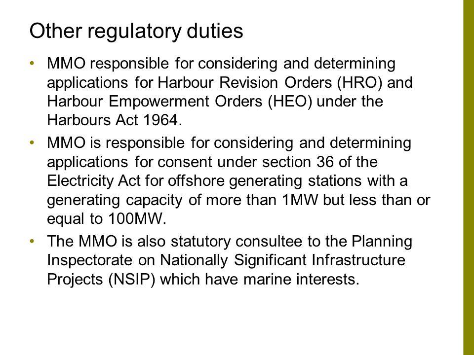 Other regulatory duties