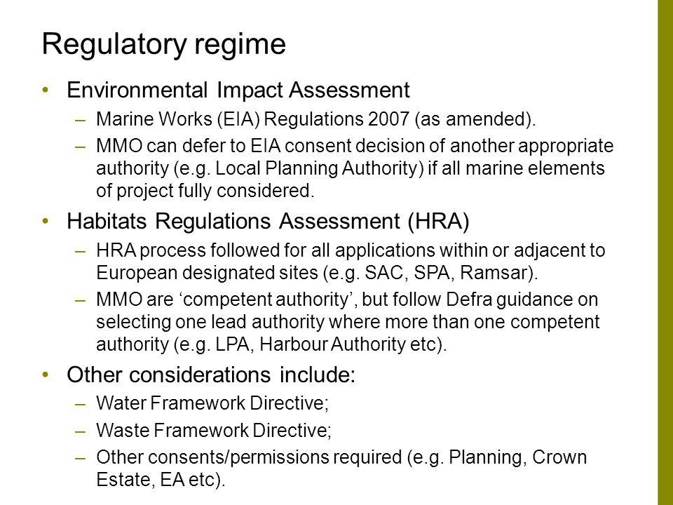 Regulatory regime Environmental Impact Assessment