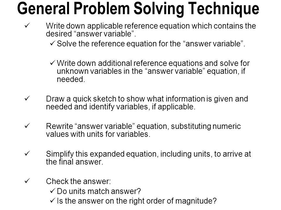 General Problem Solving Technique