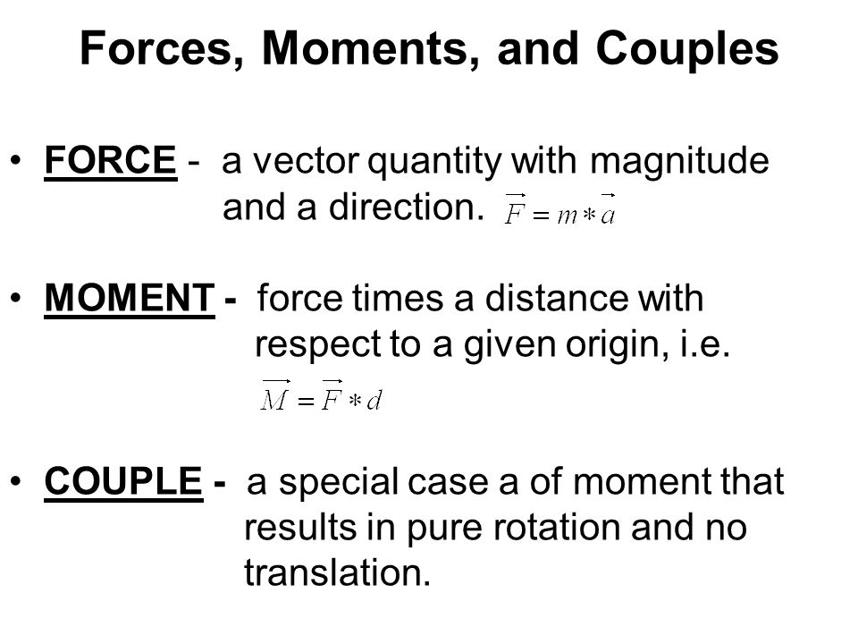 Forces, Moments, and Couples