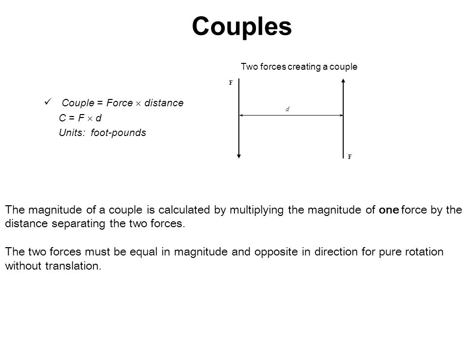 Couples Two forces creating a couple. F. Couple = Force  distance. C = F  d. Units: foot-pounds.
