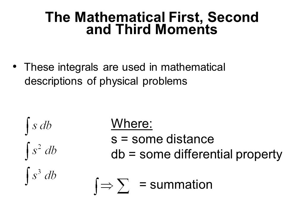 The Mathematical First, Second and Third Moments
