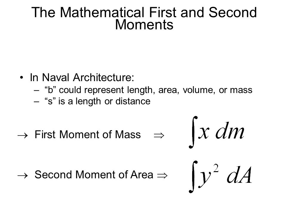 The Mathematical First and Second Moments
