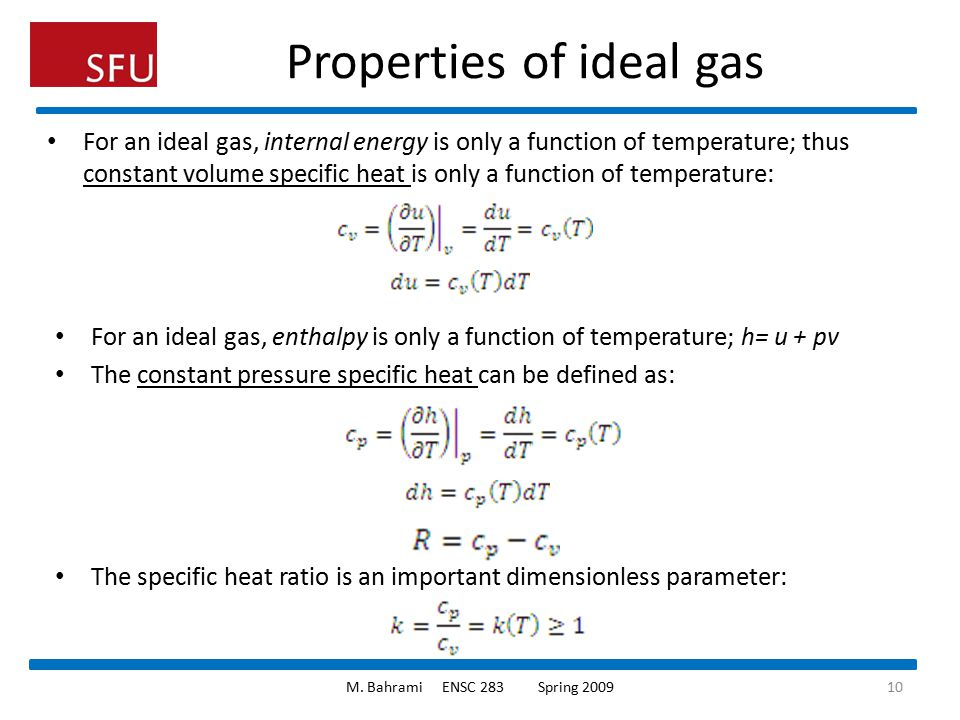 Properties of ideal gas
