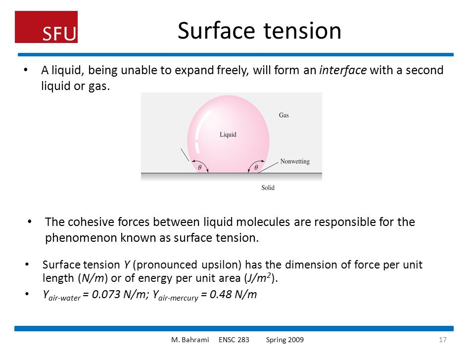 Surface tension A liquid, being unable to expand freely, will form an interface with a second liquid or gas.