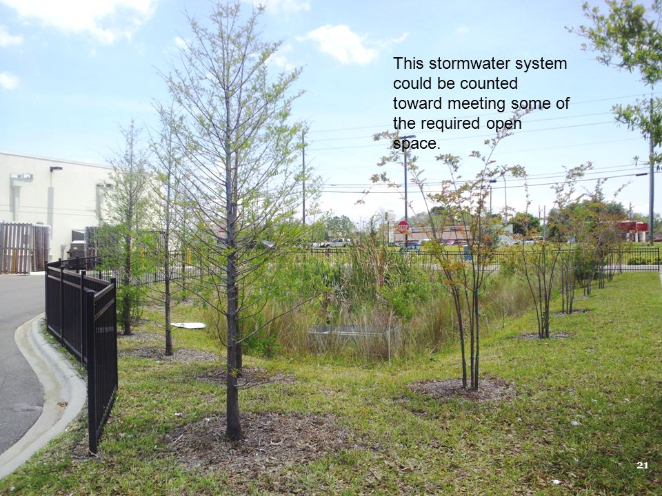 This stormwater system could be counted toward meeting some of the required open space.