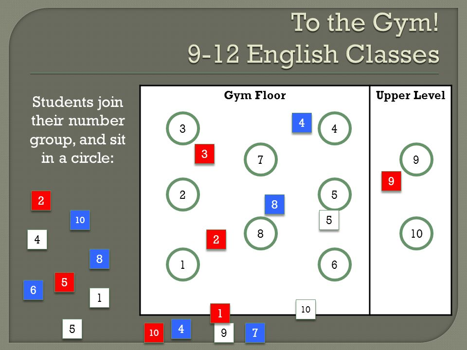 To the Gym! 9-12 English Classes