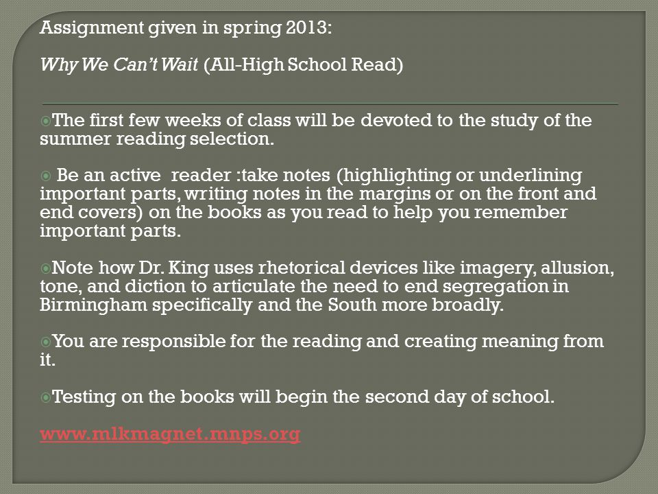 Assignment given in spring 2013: