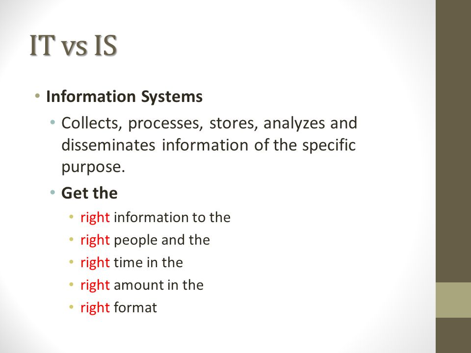 IT vs IS Information Systems