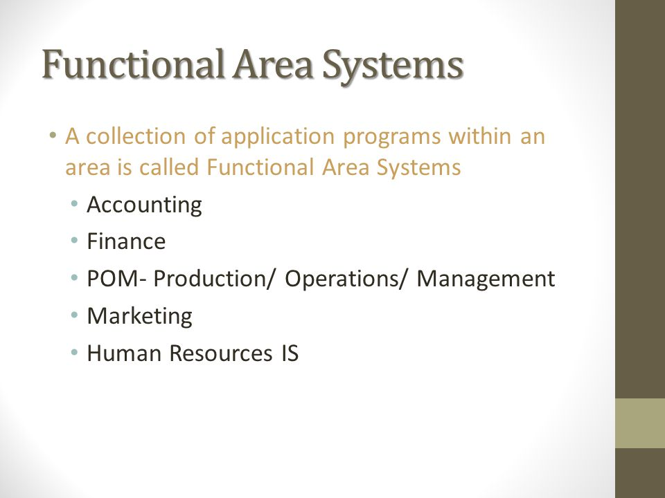 Functional Area Systems