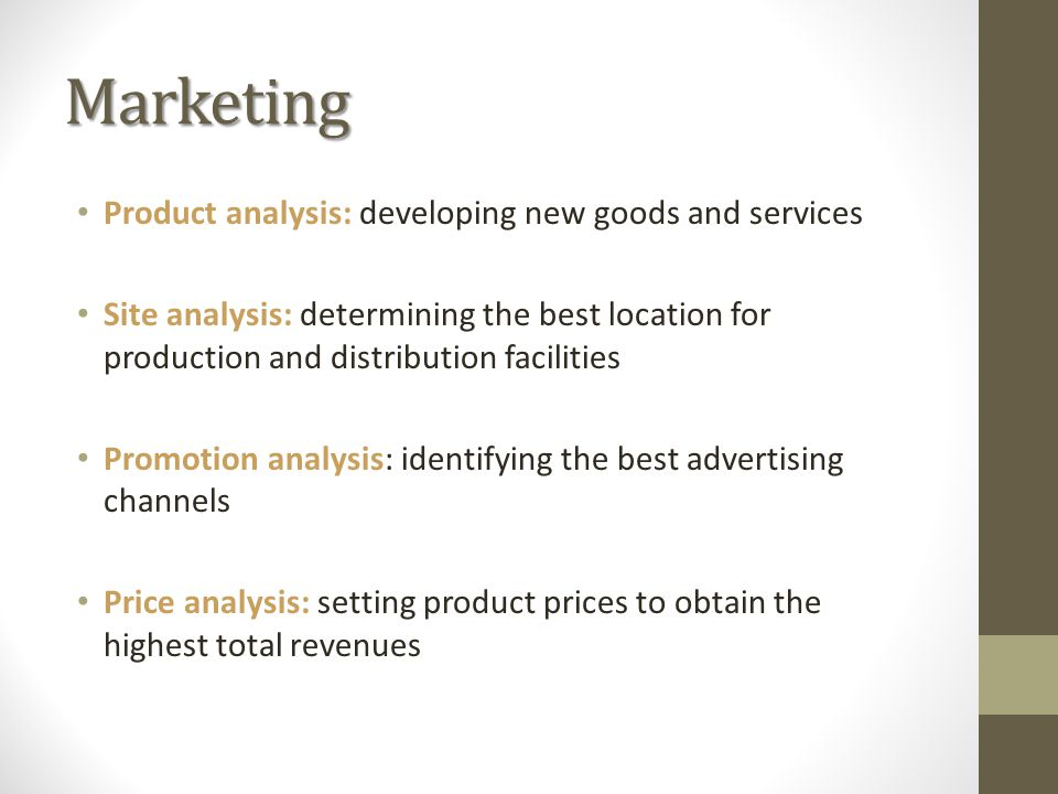 Marketing Product analysis: developing new goods and services