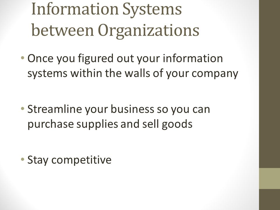 Information Systems between Organizations