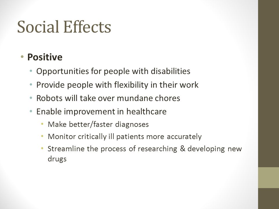 Social Effects Positive Opportunities for people with disabilities