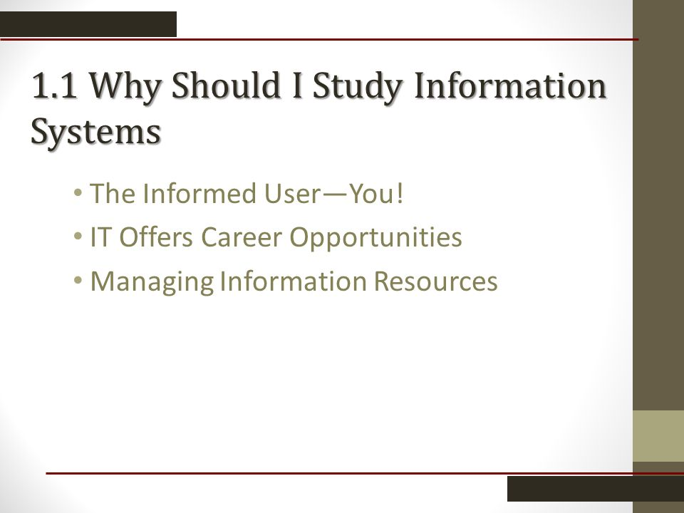 1.1 Why Should I Study Information Systems