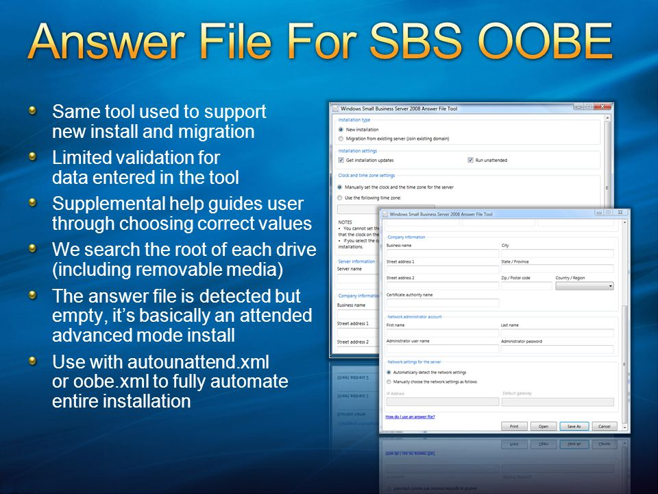Answer File For SBS OOBE