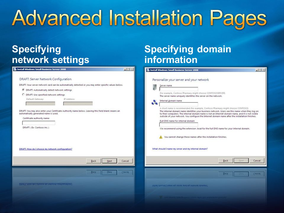 Advanced Installation Pages