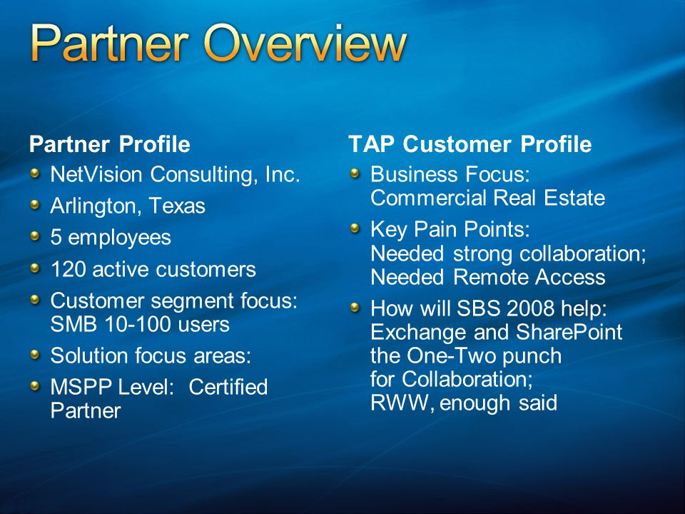 Partner Overview Partner Profile TAP Customer Profile