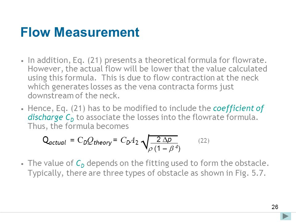  Flow Measurement Qactual = CDQtheory = CDA2 (22)