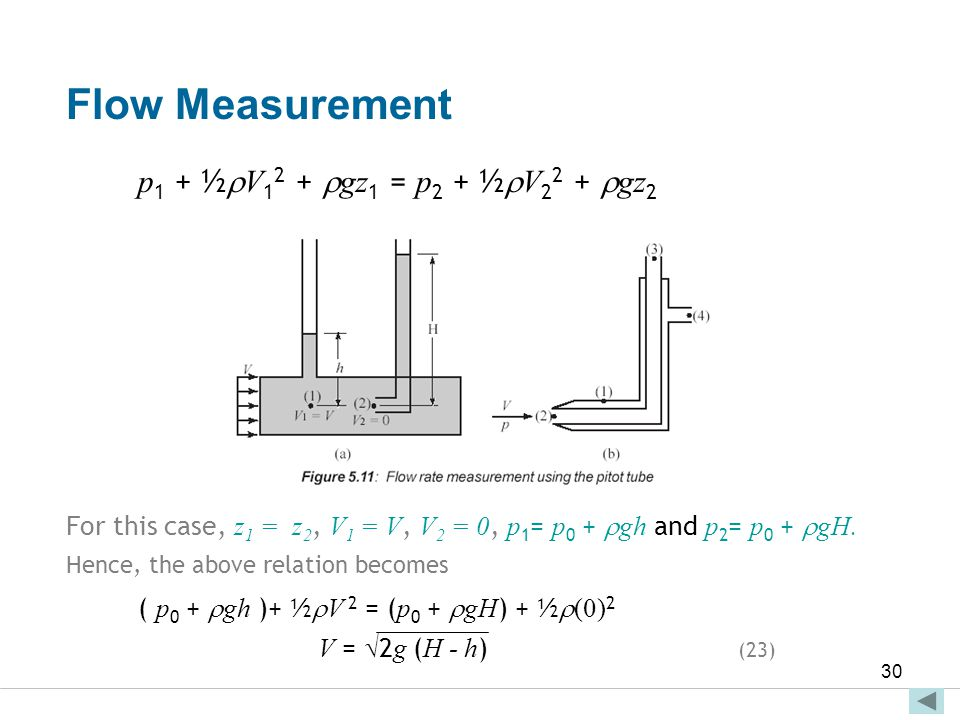 Flow Measurement p1 + ½V12 + gz1 = p2 + ½V22 + gz2