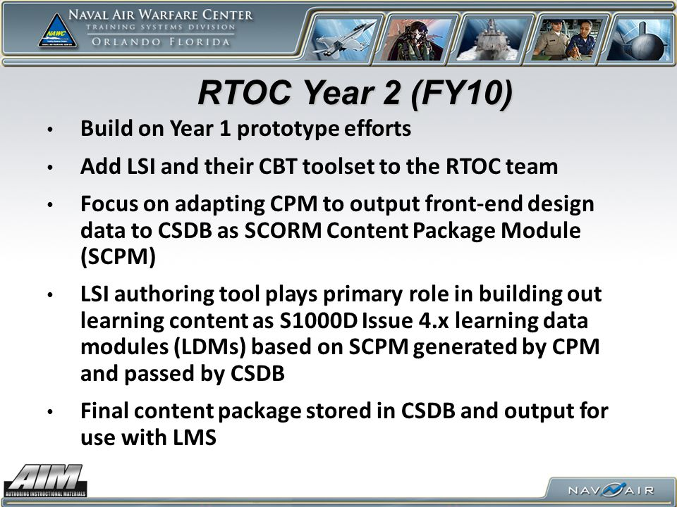 RTOC Year 2 (FY10) Build on Year 1 prototype efforts