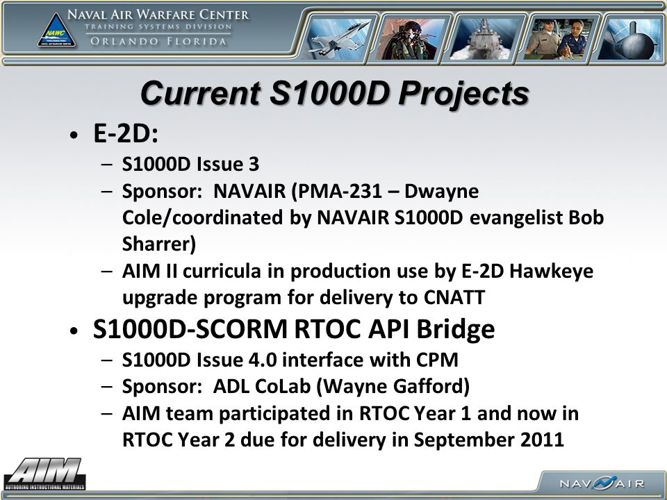Current S1000D Projects E-2D: S1000D-SCORM RTOC API Bridge
