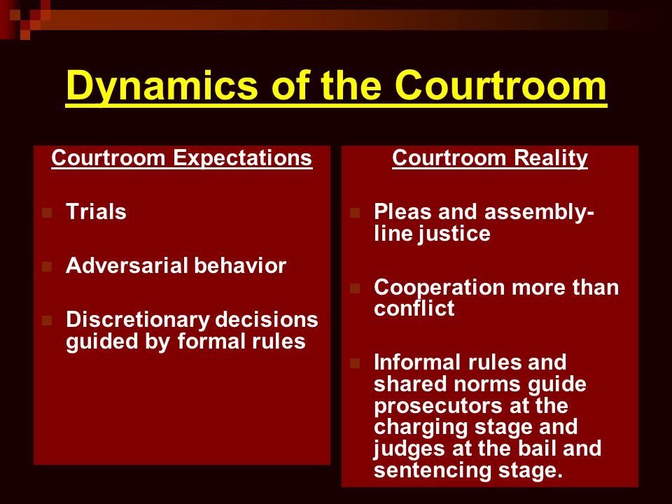 Dynamics of the Courtroom
