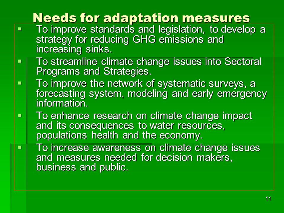 Needs for adaptation measures
