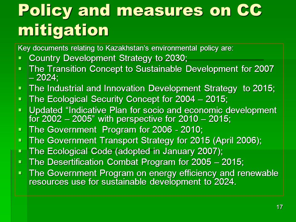 Policy and measures on CC mitigation
