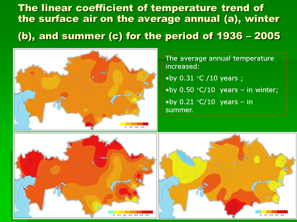 The linear coefficient of temperature trend of the surface air on the average annual (a), winter (b), and summer (c) for the period of 1936 – 2005