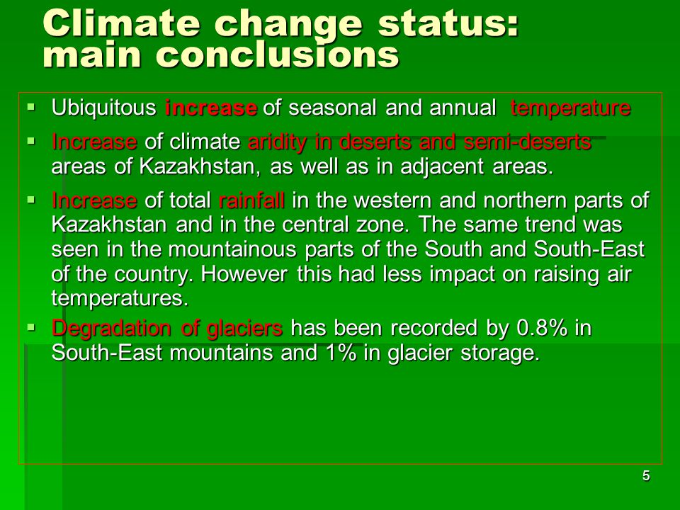 Climate change status: main conclusions