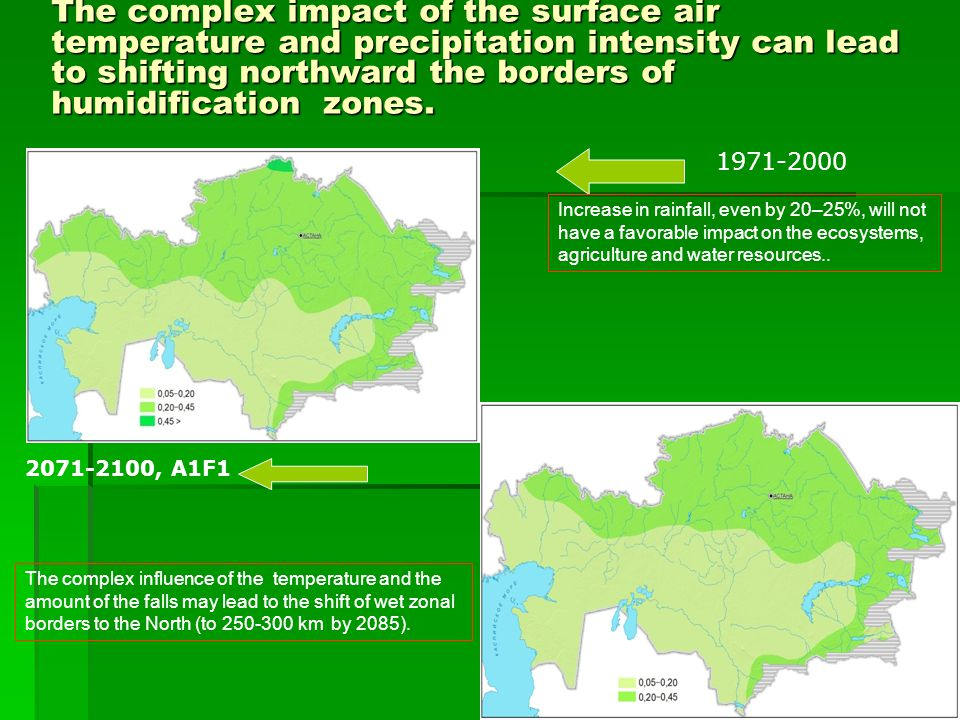 The complex impact of the surface air temperature and precipitation intensity can lead to shifting northward the borders of humidification zones.