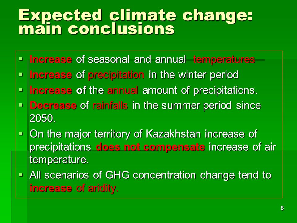 Expected climate change: main conclusions