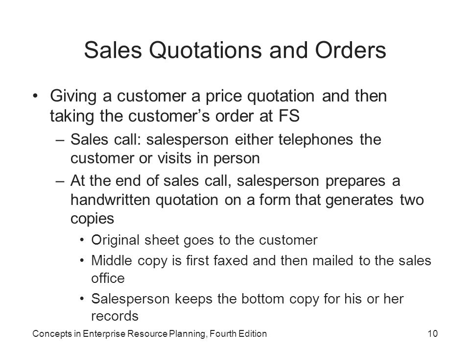 Sales Quotations and Orders